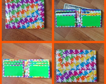 Rainbow Houndstooth and Green Duct Tape Wallet