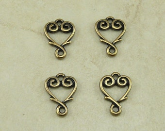 4 TierraCast Vine Heart Link Charms > Valentines Day Bridal Love Wedding Favor - Brass Ox Plated Lead Free Pewter Ship Internationally 3093