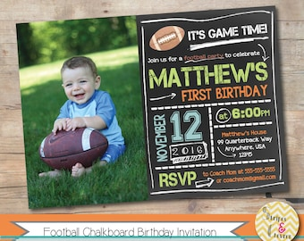 Football Invitation, Printable Football Party Invite, Personalized First Birthday Photo Invite, Boy Football Party Invitation, 1st Birthday