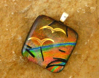 Dichroic Pendant, Small Glass Pendant, Bird Decal on Copper and Rust Dichroic Fused Glass  Pendant - Flying Free