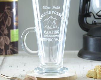 Camping Personalised Engraved Coffee Glass