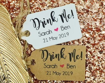 Drink Me, Wedding ALCOHOL Favour Gift Tag, Miniature Bottle, Personalised