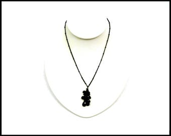 Black Japanned Chain & Black Crystal Necklace, Black Lucite Crystal Cluster, Black Bead Style Chain, Gift For Her, Gift for Teenager