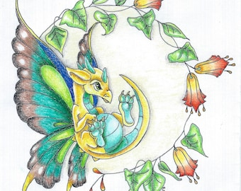 Butterfly Dragon- post card sized print of a fantasy dragon in colored pencil and ink original