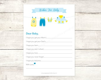 wishes for baby shower printable DIY clothes line blue yellow baby boy cute baby clothes digital shower games - INSTANT DOWNLOAD
