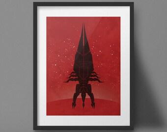 Mass Effect Poster Reaper Design Video Game Art Print