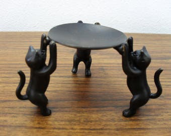 Bronze Brass Three Cats Figurine Footed Trinket Holder Ring Holder Card Holder Vintage