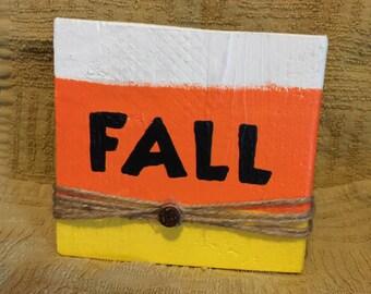 Fall Candy Corn Reclaimed Wood Block