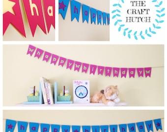Birthday Bunting, Mini Bunting, Card Bunting, Happy Birthday Bunting, Happy Birthday Garland,  Personalised Birthday Banner, Star Bunting