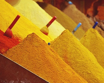 Spices, Market Photo, Kitchen Decor, Travel Photography, Ochre, Orange, Fine Art Photography, Food Lovers, Warm Colors- Early Morning Marke