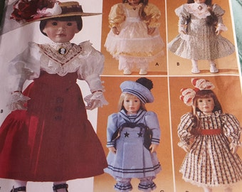 Baby Doll Clothing- 18 Inch Doll Clothing- Victorian Edwardian Dress- Blouse Skirt Pantaloons Hat- UNCUT Simplicity Sewing Pattern 7998