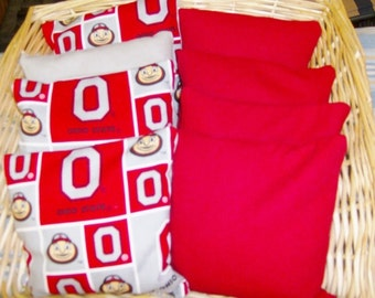 4 Ohio State Buckeyes Corn Hole Game Bags and 4 Red Duck Canvas Corn Hole Game bags