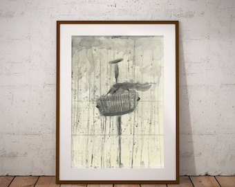 Watercolor Print Digital prints Instant download Artwork Art Music Rain Painting Gray Illustration Decor Drawing Office Wall Print Poster