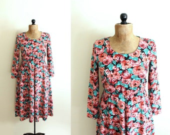 vintage dress 80s floral print pink green black long sleeve 1980s womens clothing size small s
