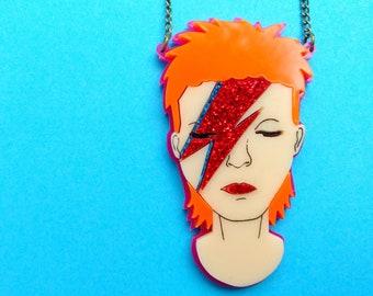 Pink Perspex David Bowie necklace