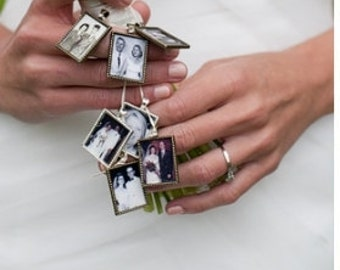 In memory of photo jewelry to make Wedding Bouquet Memory Charms  -for Bridal bouquet, necklace , keychain  Includes everything you need)