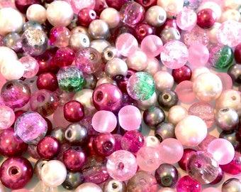 X 300 PCs DESTASH assorted 6-8MM pink glass beads