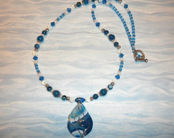 Blue And White Agate Wire Wrapped Necklace