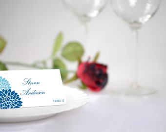 DIY Wedding Place Card Template, Blue Chrysanthemum Seating Card. Blue Flowers Card, INSTANT DOWNLOAD, Editable Colors & Text