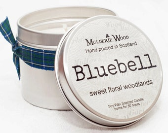 Sweet Floral Bluebell Scented Soy Wax Handmade in Scotland Tin Candle 30+ hour burn