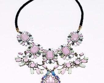 Pink Chunky Bib Statement Necklace Large crystal, rhinestone