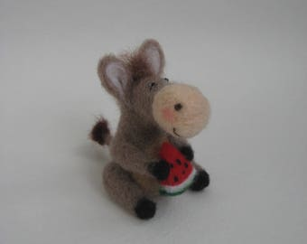 Needle Felted Donkey.Donkey with a Slice of Watermelon.Felted Miniature Toy.