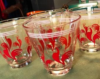 Vintage Red Roster Juice Glasses