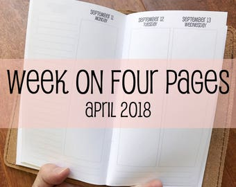 Traveler's Notebook PERSONAL Size Week on Four Pages {April 2018} #700-54