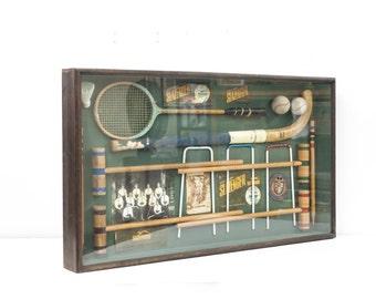 Vintage Sports Equipment Shadow Box//Game Room Decor//Game Room Shadow Box// Sports Box