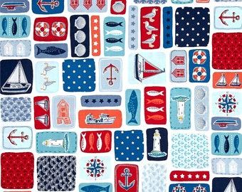 Nautical Patchwork Montage from Andover Fabric's Marina Collection Designed by The Henley Studio