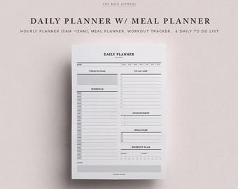 Daily Planner Printable w/ Hourly Planner, Meal Planner, Workout Tracker, & Hydration Tracker | Printable Planner Inserts - Classic