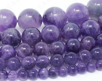 "Amethyst Beads Natural Gemstone Round Loose - 4mm 6mm 8mm 10mm 12mm - 15.5"" Strand"