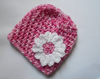 baby girl Hat hand knit pink