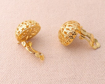 6pairs Gold Earring Clip With Filigree Design Non Pierced Ears Change Pierced Over to Clip