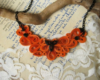 Orange and Black necklace, Unique Paper necklace for her, Gift for mom, Gift for sister,  Modern jewelry, paper gift for wife