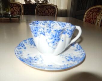 ENGLAND SHELLEY TEACUP and Saucer Dainty Blue