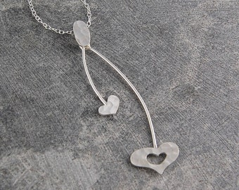 Heart Necklace, Silver Pendant, Swinging Necklace, Silver Heart, Hammered Heart, Sterling Silver, Pendant, Gift for Her, Heart Pendant, 925