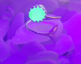 Mermaid ring, U.V sea glass, Sea glass ring, beach glass ring, sea glass, uv sea glass, uv sea glass ring, Silver