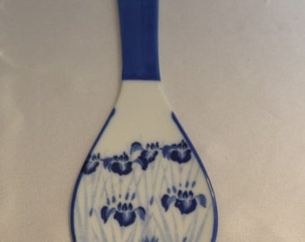Beautiful Blue and White Flowered Spoon Rest signed by artist