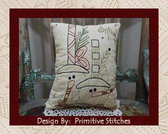 Snow--Primitive Stitchery E-PATTERN by Primitive Stitches-Instant Download
