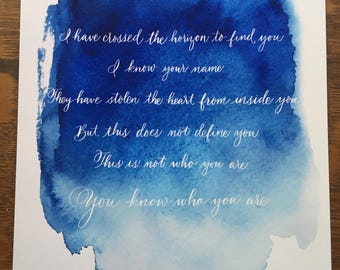 Moana quote with blue ombre watercolor background