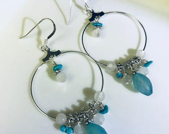 Chandleir earrings Chalcedony turquoise and quartz earrings