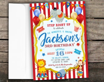 10% OFF NEW Printed or Digital Carnival Birthday Invitation Circus Birthday Invitation Carnival Birthday Printable Circus Party Invite