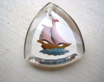 Vintage pendant sailboat glass crystal boat ship reverse painted intaglio West German (1)