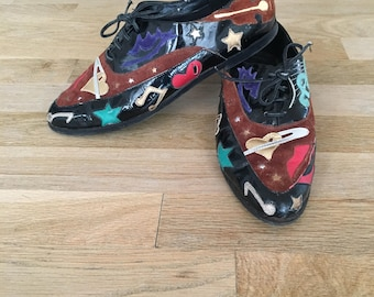 Rad Vintage A*Strax Music Note Space Galaxy Patent Oxford Flats Sz 8