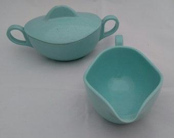 """Turquoise """"Melmac"""" Cream and Sugar Set"""