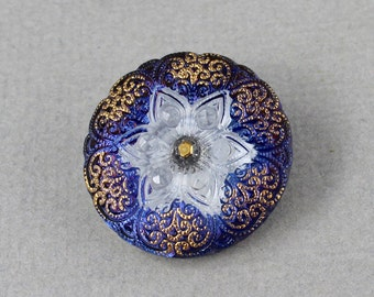 Blue and white Star flower Czech glass button, jewelry, embellishment, knitting, crocheting, sewing - 27mm - 1 pc - GBN422