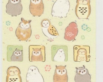 Owl Stickers - Gold Trim - Japanese Paper Stickers - Reference M6638-39