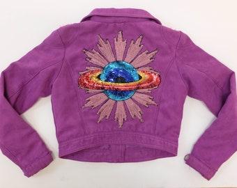 Upcycled H&M Purple Biker Jacket Size 11-12yr