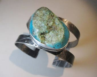Big Bold Chunky Turquoise Bracelet Sterling Silver